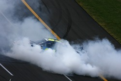 Race winner Jeff Gordon celebrates with a burnout