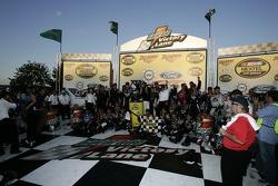 Victory lane: race winner Jeff Gordon celebrates