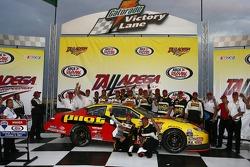 Victory lane: race winner Michael Annett celebrates