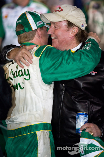 Victory lane: race winner Jeff Burton celebrates with Richard Childress