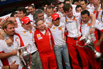 Ferrari team celebrations: race winner and 2007 World Champion Kimi Raikkonen celebrates with Felipe Massa, Jean Todt and Ferrari team members