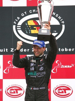 Championship podium: FIA GT1 drivers 2007 champion Thomas Biagi celebrates