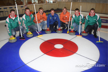 Manfred Stohl, Ilka Minor, Jari-Matti Latvala, Miikka Anttila, Henning Solberg and Cato Menkerud play curling