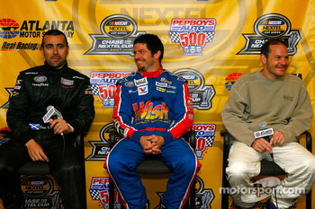 Dario Franchitti, Patrick Carpentier and Jacques Villeneuve speak with the media
