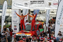 Podium: winners Stéphane Peterhansel and Jean-Paul Cottret