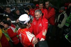 2007 World Rally Champion Sébastien Loeb celebrates with Guy Fréquelin