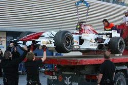The car of Ralf Schumacher, Force India F1 Team is returned to the pits