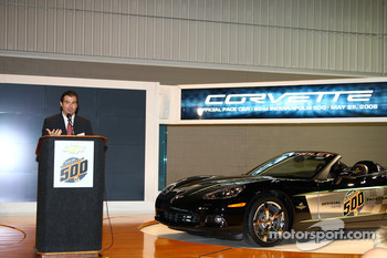 IMS President and COO Joie Chitwood and the 30th anniversary commemorative edition Corvette Pace Car
