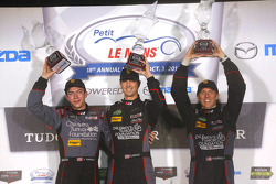 GTD podium: winners Patrick Lindsey, Spencer Pumpelly, Madison Snow