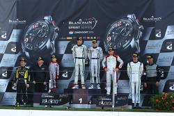 Podium: winners Maximilian Buhk, Vincent Abril, second place Christopher Mies, Robin Frijns, third place Nicki Thiim, Frédéric Vervisch