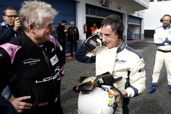 Jacques Nicolet speaks with Pierre Fillon, president of the ACO, after testing the Ligier JS P3 - Nissan