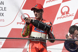Andrea Iannone, Ducati Team celebrates his third place on the podium