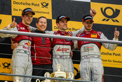 Race 2 Podium: second place Mattias Ekström, Audi Sport Team Abt Sportsline and winner Jamie Green, Audi Sport Team Rosberg and third place Edoardo Mortara, Audi Sport Team Abt