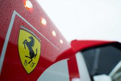 Rain drops on a Ferrari logo