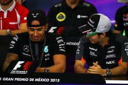 Lewis Hamilton, Mercedes AMG F1 with Sergio Perez, Sahara Force India F1 in the FIA Press Conference