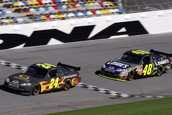 Jeff Gordon leads Jimmie Johnson