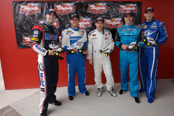 Raybestos Rookie of the Year radio-controlled car race event: Sam Hornish Jr., Regan Smith, Jacques Villeneuve, Dario Franchitti and Michael McDowell
