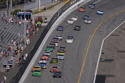 Kyle Busch and Martin Truex Jr. battle for the lead