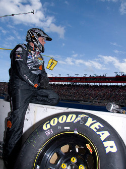 Dewalt Ford crew member waits patiently before the race