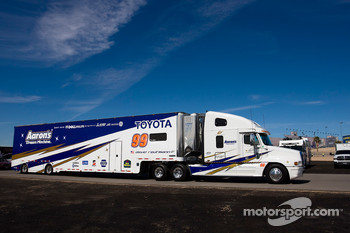 The Aaron's team hauler makes its' way into the Las Vegas Motor Speedway
