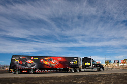 The Texaco Havoline team hauler makes its' way into the Las Vegas Motor Speedway