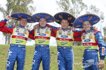 The BP Ford Abu Dhabi World Rally Team have fun before the start of the 2008 Rally Mexico: Mikka Anttila; Jari-Matti Latvala, Jarmo Lehtinen and Mikko Hirvonen