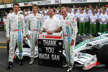 Yashurio Wada, Honda Racing Development Ltd, President, Alexander Wurz, Test Driver, Honda Racing F1 Team, Jenson Button, Honda Racing F1 Team, Rubens Barrichello, Honda Racing F1 Team