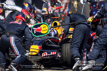 Pit stop for David Coulthard, Red Bull Racing