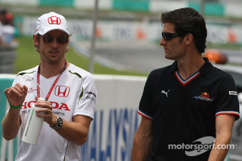 Jenson Button, Honda Racing F1 Team and Mark Webber, Red Bull Racing