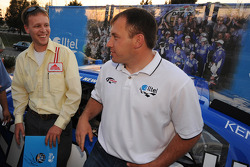 Ryan Newman with fan Chris Turner at the grand opening of a new Alltel Wireless store in Lynchburg