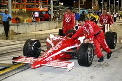 Winning car is taken back to the garage