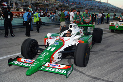 Tony Kanaan's car is wheeled onto the grid