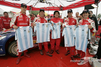 Sébastien Loeb, Daniel Elena, Daniel Sordo and Marc Marti with Football legend Diego Maradona