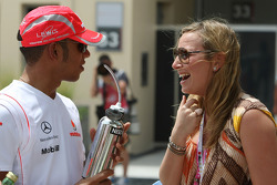 Lewis Hamilton, McLaren Mercedes with girls in the paddock