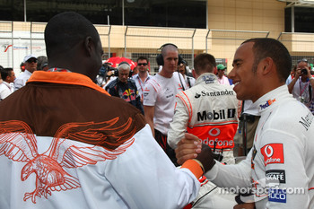 Akon, Hip Hop and R&B Music Artist with Lewis Hamilton, McLaren Mercedes