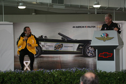 Emerson Fittipaldi and Media Tour master of ceremonies Bob Jenkins