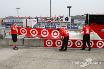Chip Ganassi Racing crew members prepare pit area