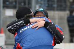 Race winner Danica Patrick celebrates with Kim Green