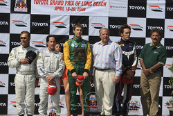 Podium: race winner Will Power with Franck Montagny and Mario Dominguez