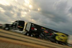 Juan Pablo Montoya's hauler pulls into the Talladega Superspeedway