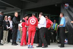 Team Ganassi celebrate the pole award to Scott Dixon