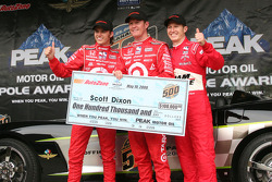 Dan Wheldon, Scott Dixon and Ryan Brisoce celebrate being on the front row for the Indianapolis 500