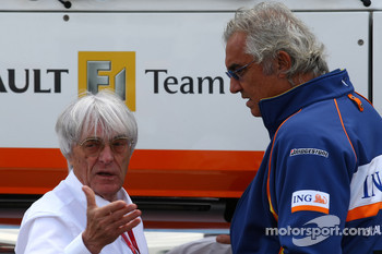 Bernie Ecclestone, President and CEO of Formula One Management and Flavio Briatore, Renault F1 Team, Team Chief, Managing Director