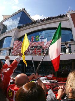 Podium: race winner Felipe Massa with Lewis Hamilton and Kimi Raikkonen