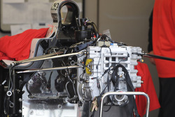 One of the Penske car's stripped down
