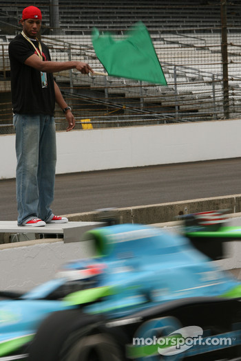 Danny Granger waves the green flag