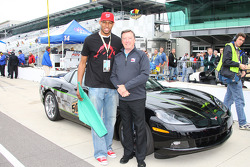 Indiana Pacers forward-guard Danny Granger poses with three-time Indianapolis 500 winner Johnny Rutherford