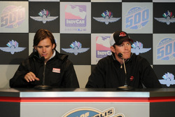 Dan Wheldon and Scott Dixon during the morning press conference