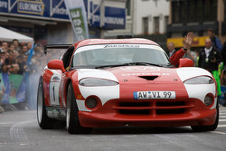 Tom Coronel performs a burnout in the Zakspeed Dodge Viper GTS-R