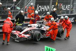 Marshalls push back Heikki Kovalainen, McLaren Mercedes